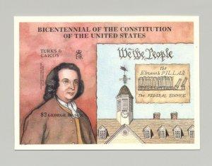 Turks & Caicos 1987 U.S. Constitution Bicentennial 1v s/s imperf chromalin proof