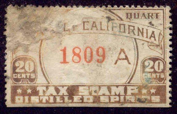 California State Revenue Stamp 20c Liquor Tax # L5