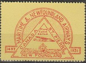 Stamp Canada 1931 Airmail Maritime Newfoundland Airways St. Pierre MNH