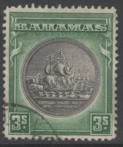 BAHAMAS SG132a 1943 3/= BLACK & GREEN FINE USED
