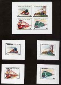 Yemen - Republic 1980 (?) Locomotives imperf set of 8 plu...