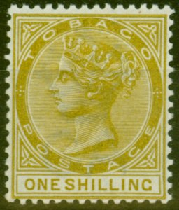 Tobago 1894 1s Olive-Yellow SG24ba Slash Flaw Repaired V.F Very Lightly Mtd Mint