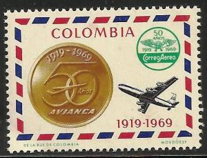 Colombia Cinderella Aviaca Airlines 50th Anniversary Label 1919-1969 MNH