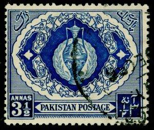 PAKISTAN SG57, 3½a blue, FINE USED. TYPE I.