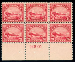 MOMEN: US STAMPS #C6 PLATE BLOCK MINT OG NH FRESH LOT #70048