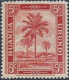 Ruanda-Urundi 68 (mhr) 5c oil palms, red (1942)