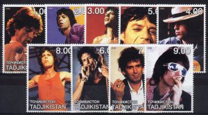 Tajikistan  2000   Rolling Stones Set of 9 values Perforated MNH
