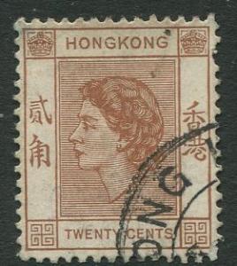 Hong Kong -Scott 188 - QEII Definitive -1954 - Used - Single 20c Stamp