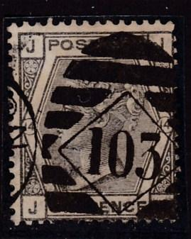 Great Britain 1873 QV Nr.62 6d gray Plate-14 Bourn 103 duplex