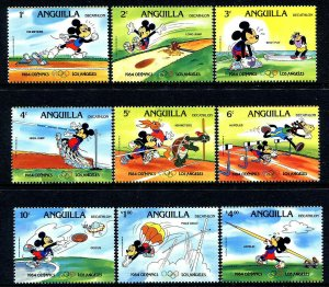 ANGUILLA - 1984 - DISNEY - MICKEY - OLYMPICS - DECATHLON + RINGS - MINT NH SET!