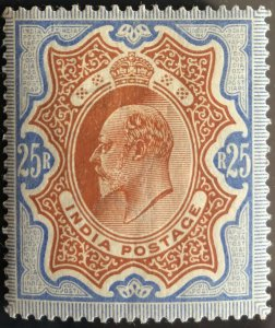 BRITISH INDIA 1902-1911 KEVII RS25/- (MH) BROWNISH ORANGE & BLUE LARGE PART O.G
