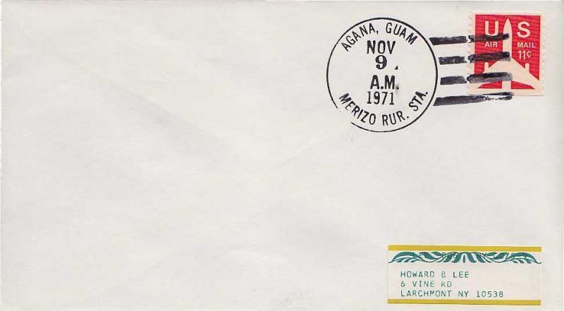 Guam 11c Airliner Silhouette Coil 1971 Agana, Guam Merizo Rur. Sta. Airmail t...