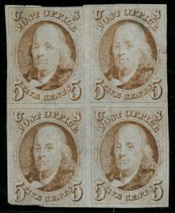 #1 5¢ 1847 FINE USED BLK/4 -  LOOKS UNUSED - LIGHT CANCEL  W/ PF CERT WLM3214