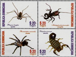DOMINICAN REPUBLIC FAUNA INSECTS ARACHNIDS BLOCK of 4 Sc 1534 MNH 2013