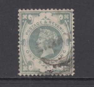 Great Britain Sc 122 used 1887 1sh Queen Victoria Jubilee, Top Value to Set F-VF