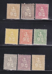 Switzerland 60-68 Set MNH Helvetia Seated