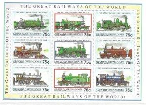 1992  GRENADINES OF GRENADA  -  SG.  1441 / 1449  - RAILWAYS OF THE WORLD - MNH