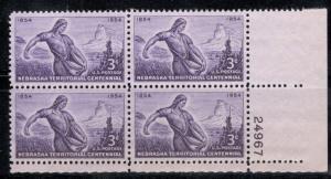 1060 Nebraska Territory Plate Block Mint/nh (Free Shipping)