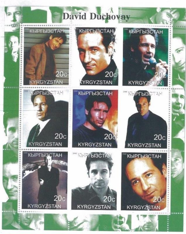 DAVID DUCHOVNY Mini Sheet of 9 MNH Kyrgyzstan - E9