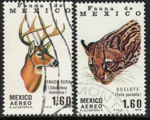 MEXICO C581-C582, Fauna of Mexico Mule Deer and Ocelot. USED. F-VF. (807)