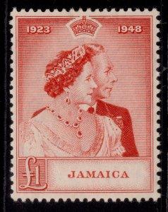 JAMAICA GVI SG144, £1 scarlet, M MINT. Cat £28.