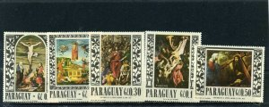 PARAGUAY 1967 Sc#1004 RELIGIOUS PAINTINGS SET OF 5 STAMPS MNH