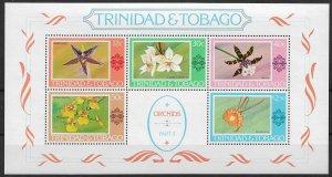 1978 Trinidad & Tobago 288a Orchids MNH S/S of 5
