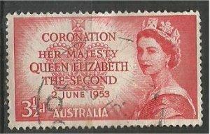 AUSTRALIA, 1953, used  3 1/2p Coronation Scott 259