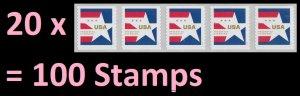 US 5433 Star Presorted Standard 10c coil strip 5 (20 strips) MNH 2020