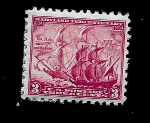 US 1936 SC# 736 - 3 c Maryland Tercentenary Mint H - Vivid Color