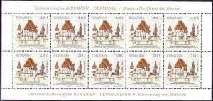 Romania Germany 2011 joint issue STAMPS Kirchenburg Biertan Sibiu sheet MNH