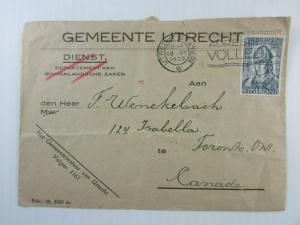 1939 Netherlands cover Utrecht to Toronto #213 slogan CDS Official envelope Fine