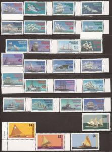 Marshall Isl. 1993-5 Ships Complete Set of 28 Stamps NH Scott 441-66B