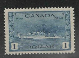 Canada Scott 262 MH*, mint hinged 1$ Naval Destroyer ship at set stamp