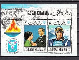 Ras Al Khaima, Mi cat. 345-346, BL75 A. Grenoble Winter Olympics s/sheet. ^