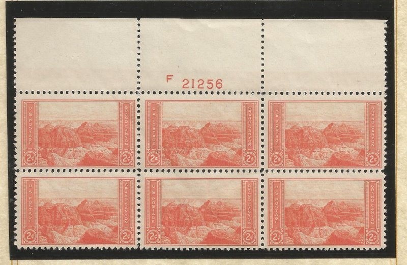 US SCOTT# 741 PLATE BLOCK OF 6, MNH, OG