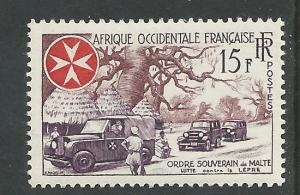 French West Africa #74 Knights of Malta (1) Unused VLH