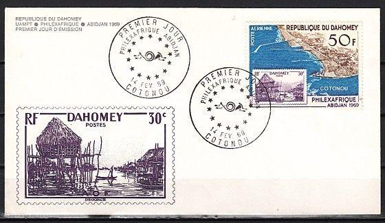 Dahomey, Scott cat. C94. Philexafrique, Stamp on stamp issue. First day cover