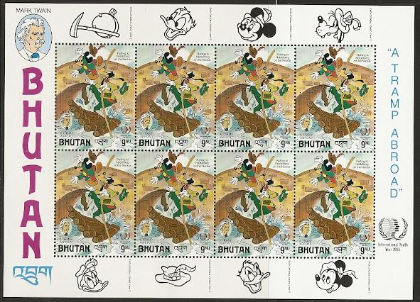 Bhutan 519 1985 Disney Mini-sheet NH
