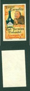 Denmark. Poster Stamp. Ligueur Carmelite Carl Permin's Wine Store. Copenhagen