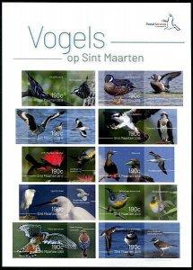 HERRICKSTAMP NEW ISSUES ST. MARTIN Sc.# 189 Birds 2019 Self-Adh. Sheetlet