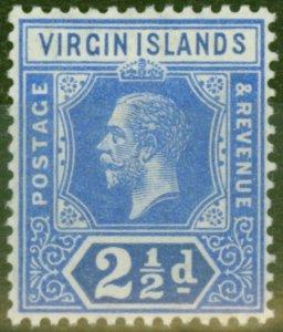 British Virgin Is 1913 2 1/2d Brt Blue SG72 Fine Very Lightly Mtd Mint