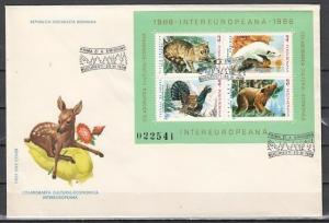 Romania, Scott cat. 3343 only. Fauna sheet on a First day cover. ^