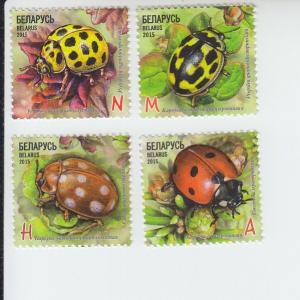 2015 Belarus Ladybugs (4) (Scott 947-50) MNH