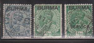 BURMA Scott # 1-2, O2 Used - KGV