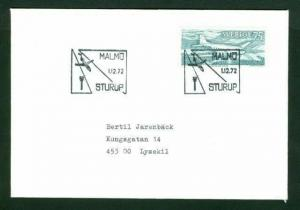 Sweden.  First Flight Cover 1972. 75 Ore Airplane. Malmo-Sturup