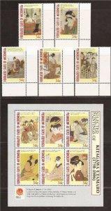 Micronesia - 2001 Japanese Art - 6 Stamp Set + 6 Stamp Sheet + 2 S/S #430-8