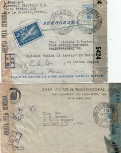 Brazil 3 World War 2 Era Covers to the USA Censored
