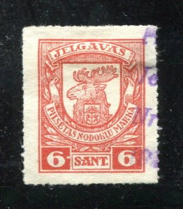x206 - LATVIA Jelgava 1920s Municipal REVENUE Stamp. 6 Sant Used. Rouletted