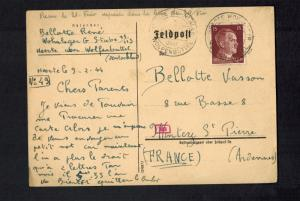 1944 Germany Wolfenbuttel Concentration Camp PC Cover to France Rene Bellotte KZ